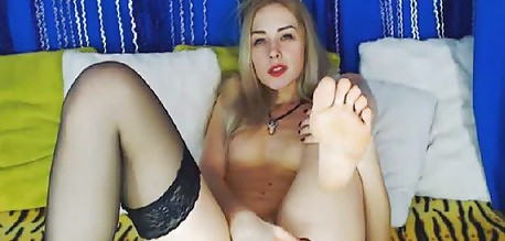 Blonde College Girl In Stockings Rubbing Pussy