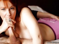 Redhead MILF cocksucker tastes some fresh cum