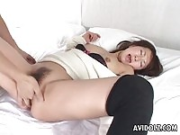 An asian milf gets fingered in here