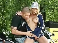 Long haired blonde sucks thick biker cock