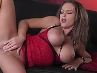Busty beauty fingering