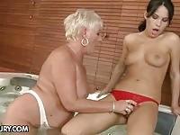 Big boob old lesbian pleasing a young teen
