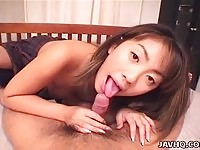 Cute asian babe giving an awesome blowjob