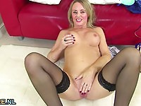 Lovely blonde mature toying