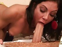 Hungry babe in action