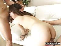 Hot asian getting fingered and sucking two cocks
