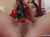 Naughty babe in red masturbating