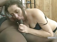 Hungry of cock wife feasting on black dong