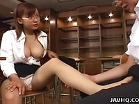 Naughty schoolgirl teasing her teacher
