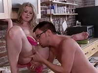 Superb blonde bitch nailed hard in the kitchen