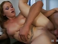 Perky boobed brunette drains thick cock 