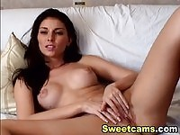 Hot brunette goddess having an amazing orgasm while playing solo