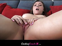 Lovely babe Callie gets face jizzed during her casting