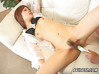 Innocent Japanese toyed and sucking