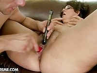 Busty granny in creampie