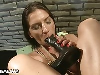 Pain seeking bonded babe forced to suck huge toys