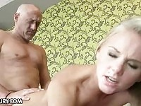 Mature guy fucking a blonde beauty!